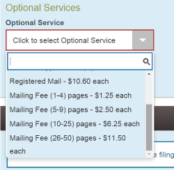 Optional Services mailing fee