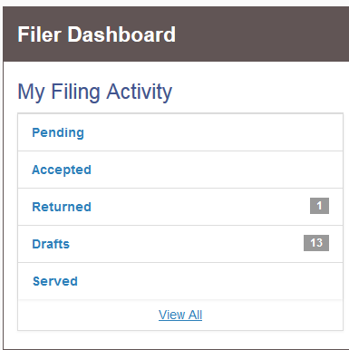 Filer Dashboard